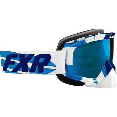 FXR MISSION SNOWMOBILE MX Winter Sports GOGGLES- Navy / Cyan - ONE SIZE - NEW