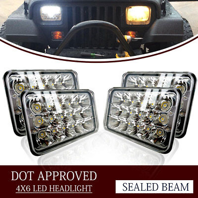 "4PCS Dot Approved 4x6"" LED Headlights Replacement fit H4652 H4656 H4666"