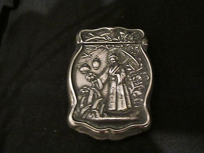S38 antique sterling match holder oriental design  striker hinged lid tobacciana