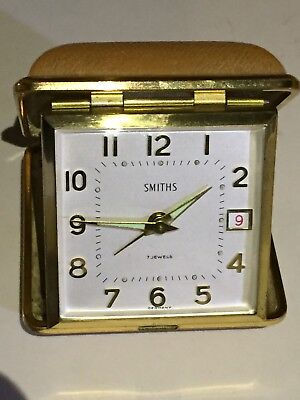 """Vintage Of 1970's """"SMITHS"""" 7 Jewels, Mechanical Move Travel Alarm Clock"""