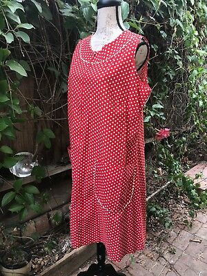 VINTAGE 1960s RED/WHITE POLKA DOT HOUSEDRESS DRESS COTTON L/XL MONTGOMERY WARD