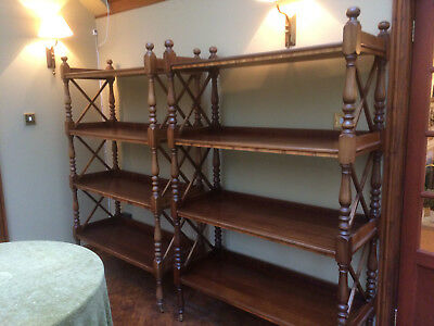 Antique Style Mahogany Pair Open Bookcases Display Units