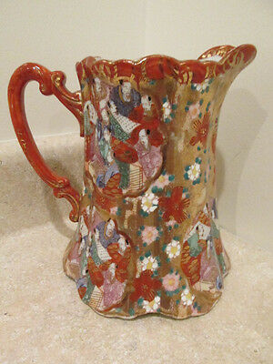 S38 antique japanese water pitcher jug decorated with figures gold red colors