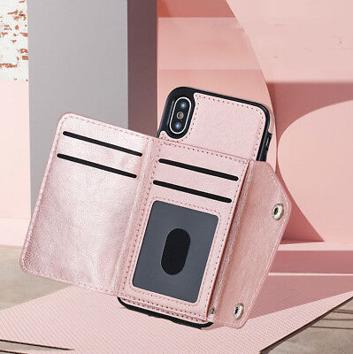 Luxury Wallet 5 Card Holder Stand Case Magnetic Leather Buckle Phone Cover Bag
