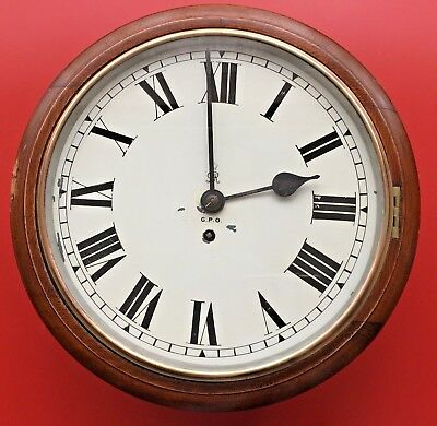 FUSEE WALL CLOCK 1920'S GVR GPO 12 INCH DROP DIAL 8 day Movement