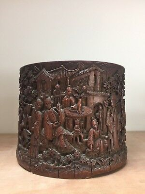 BETTER QUALITY 18th/19thc CHINESE CARVED SCHOLARS BAMBOO BRUSH POT