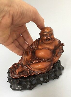 VERY FINE ANTIQUE BOXWOOD CARVED FIGURE of a RECLINING BUDDHA & STAND