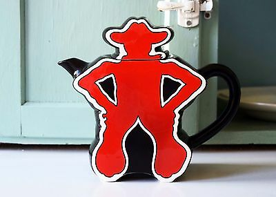 """Vintage Cowboy Teapot 7x9"""" Rodeo by Department 56 Made in Japan Western Kitchen"""