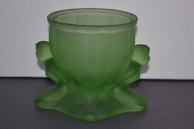 Rare Antique Dolly Sisters Jar  1920's   Green Glass