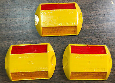 (Lot of 3) - Stimsonite Reflective Road Highway Pavement Marker, Yellow-Red