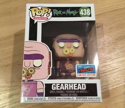 NYCC 2018 OFFICIAL STICKER Rick And Morty GEARHEAD Exclusive Funko Pop IN HAND