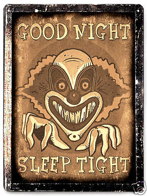 CLOWN HALLOWEEN scary MOVIE PROP METAL sign VAMPIRE HORROR vintage decor 060