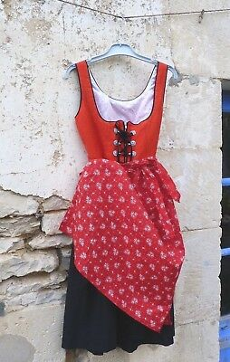 70s Authentic Girl Dirndl Tyrol Austria German Floral Dress & apron 10 years