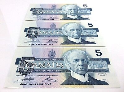 1986 Canada Five 5 Dollar 3 ENA Prefix Consecutive Serial Number Bank Notes H167