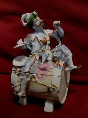 Very Rare Antique 1800's French? Porcelain Figural Box Jester Musician With Dog