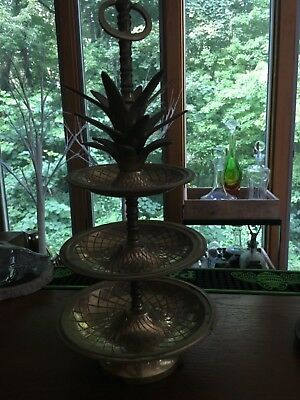 Vintage 3-Tier BRASS PINEAPPLE Centerpiece TIDBIT SERVING TRAY Candy Dessert