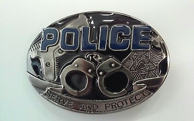 """4"""" X 3""""  Police (Serve And Protect)  Metal Belt Buckle"""