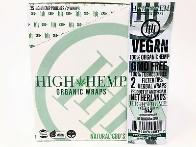 2 Boxes High Hemp Organic Wraps 25 Packs of 2 Tobacco Free Vegan Non GMO NEW
