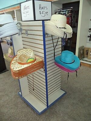 Slatwall Store Fixture With Wire Hat Display Racks -- Heavy - Blue & White