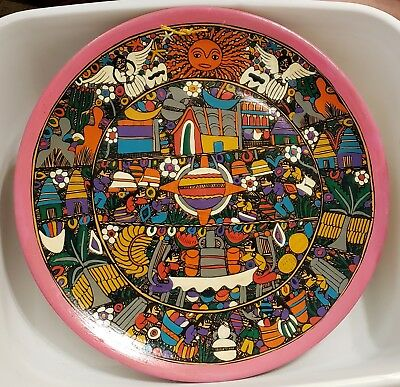 Vintage?? Hand Painted Mexican Folk Art Pottery Wall Hanging Plate