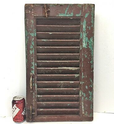 Single 23x14 Antique Wood House Shutter Louvered Vintage Painted Old farmhouse