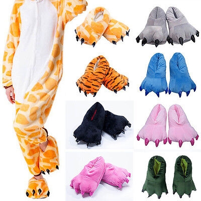 Adults Kids Animal Monster Feet Slippers Claw Dinosaur Paw Plush Indoor Shoes UK