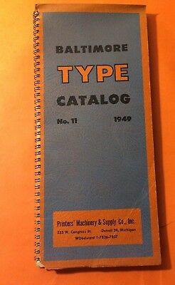 Baltimore Type Catalog No 11 1949 Printers' Machinery & Supply Co Detroit 144pgs