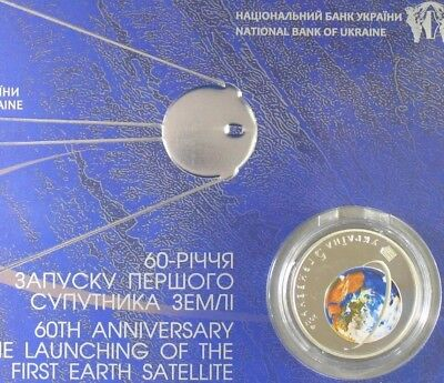 752 2017 Ukraine Coin 60 Anniversary Launching First Earth Satellite booklet