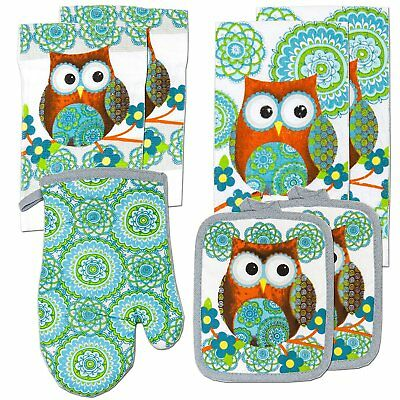 Owl Design Kitchen Towels Linen Oven Mitt Potholders Turquoise 7 Piece Gift Set