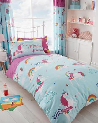 Unicorn Fairytale Kids Duvet Cover Sets Reversible Bedding Sets or Fitted Sheet