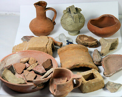 Various ancient, Roman, antique and other pottery and fragments