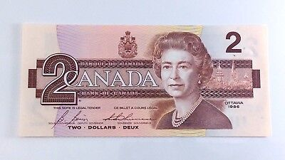 1986 Canada Two 2 Dollar Replacement BRX Bank Note Almost Uncirculated H179