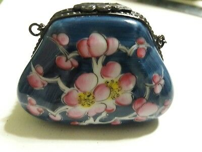 Rochard Limoges - Hand Painted France Blue PURSE with Pink Flowers