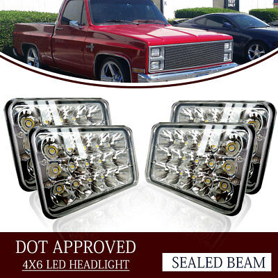 "4PCS Dot Approved 4x6"" LED Headlights Replacement for H4652 H4656 H4666"