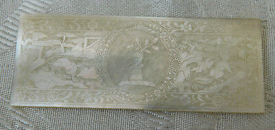 Rare Chinese Deep Carved Mother of Pearl Armorial Heraldic Oblong Gaming Counter