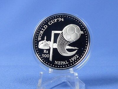 Nepal 500 Rupees 1992 , Fußball WM USA ,Silber *PP/Proof* (18834 )
