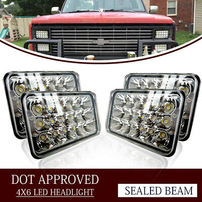 "4PCS Dot Approved 4x6"" LED Headlights Replacement for H4656 H4651 H4652"