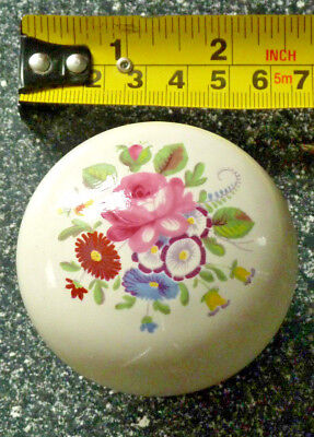 Victorian White Solid Ceramic Centre Door Knob Handle- Hand Painted Floral (04)