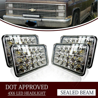 "4PCS Dot Approved 4x6"" LED Headlights Replacement fit H4651 H4656 H4666"