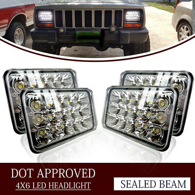 "4PCS Dot Approved 4x6"" LED Headlights Replacement fit H4651 H4652 H4656"