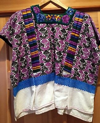 Guatemalan Huipil With Brocaded Designs Cotton Fabric Handwoven Vintage 1980's