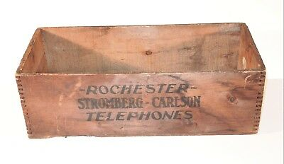 RARE c1900 STROMBERG-CARLSON TELEPHONE CO. ROCHESTER, NY WOOD SHIPPING BOX CRATE