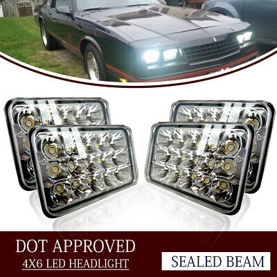 "4PCS Dot Approved 4 x 6"" LED Headlights Replacement fit H4651 H4652 H4656 H4666"