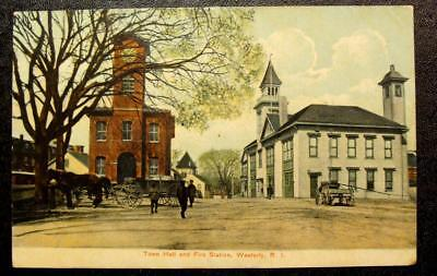 1910 Postcard-Town Hall And Fire Station, Westerly, Rhode Island