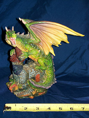 """MYTHS & LEGENDS - GREEN DRAGON WITH CASTLE (7.5""""H x 7""""W)"""