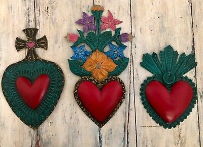 Sacred Hearts Set Mexican Folk Art Punched Tin (3) Pc Flaming Heart Floral Cross
