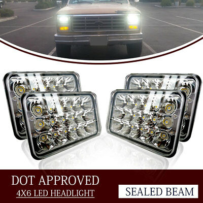 "4PCS Dot Approved 4x6"" LED Headlights Replacement fit H4656 H4651 H4652 Headlamp"