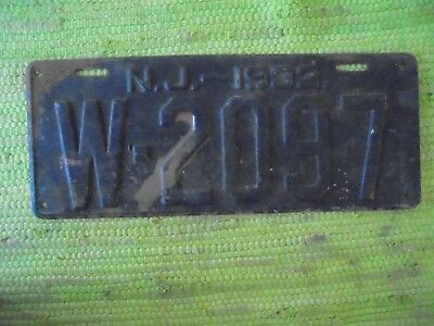 1932 New Jersey License Plate 32 NJ Tag W-2097
