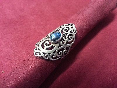 Beautiful Vintage Long Filigree Blue Abalone Ring Sterling Silver *Size 6 *G121