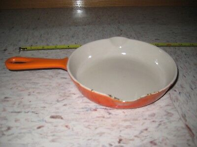 Vintage Le Creuset Cast Iron Skillet Flame Orange Small France Frying Pan 16
